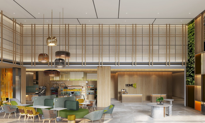 Home2 Suites by Hilton China Prototype Lobby Rendering