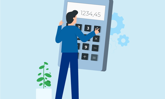 Illustration of a man and an oversized calculator - Source OTA Insights