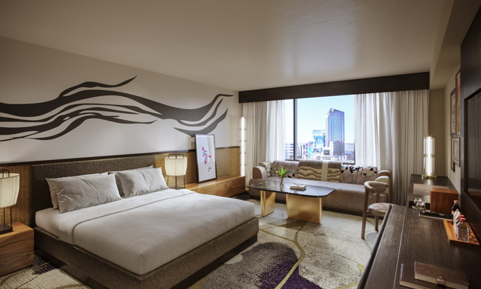 Nobu Deluxe King Room at Nobu Hotel Caesars Palace – Rendering