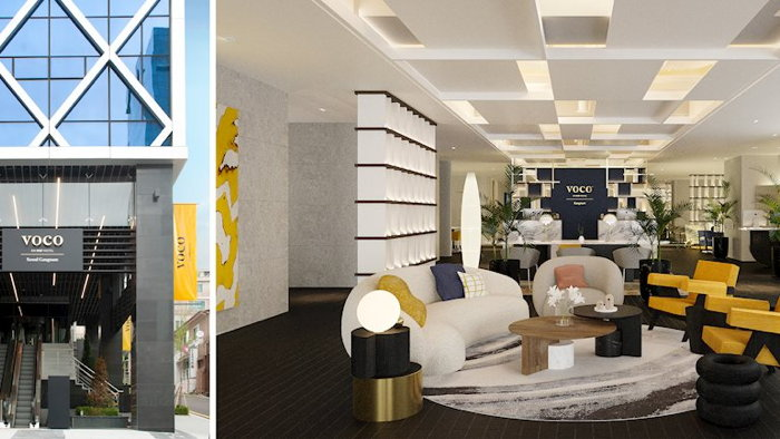 Rendering of the voco Gangnam Front Entrance and Lobby